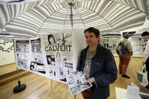Paul Thompson showing off his comic: Calvert